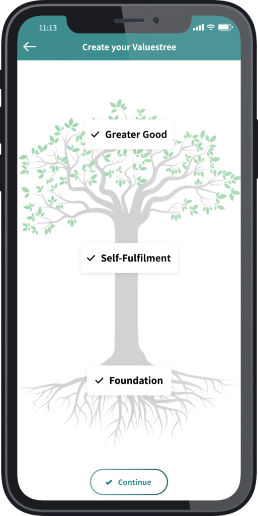 Finished with creating a values tree mobile view