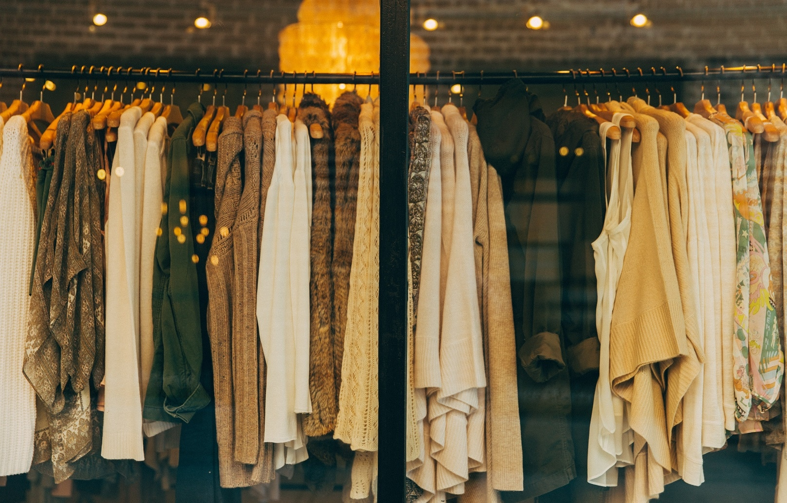 Clothes haning on a rack